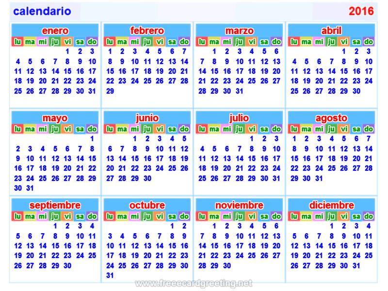 calendario 2016 horizontal y vertical calendar design calendar design ...