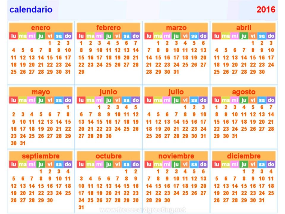 Horizontal Calendar For 2016 On White. Stock Vector - Image: 41082568