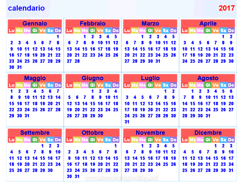 calendario 2017 orizzontale e verticale - Chinese Hairstyles