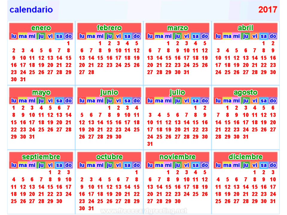 Calendario 2017 Horizontal Y Vertical