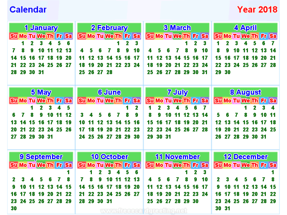 Kalender 2018 horizontal und Vertikal