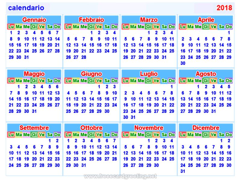Calendario 2018 Wallpaper