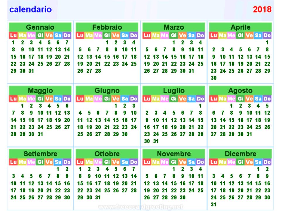 calendario 2018 orizzontale e verticale