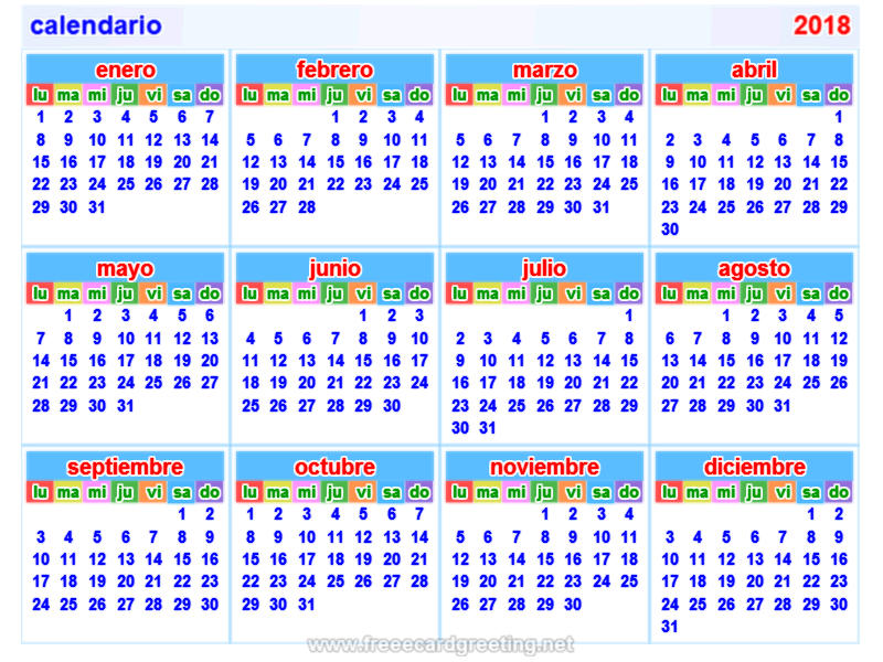 calendario 2018 Horizontal y Vertical
