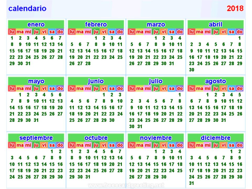 Calendarios 2018 Uruguay