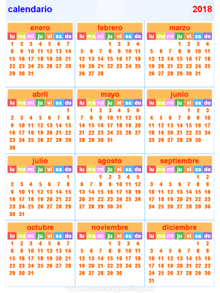 Calendar Horizontal Related Keywords & Suggestions - 2018 Calendar ...