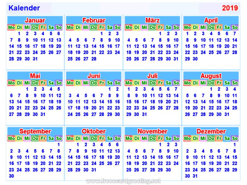 Kalender2019 german