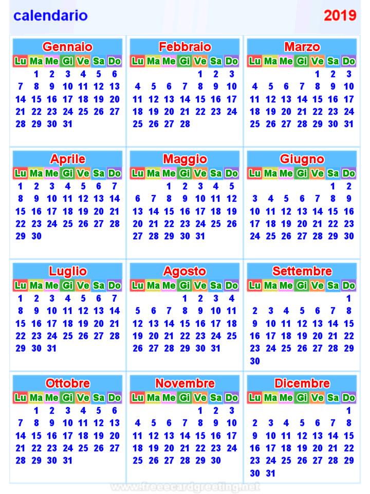 Calendario 2019 Orizzontale E Verticale