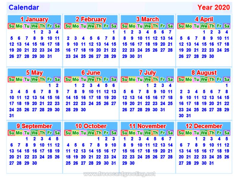 2020 Calendar Calendar 2020