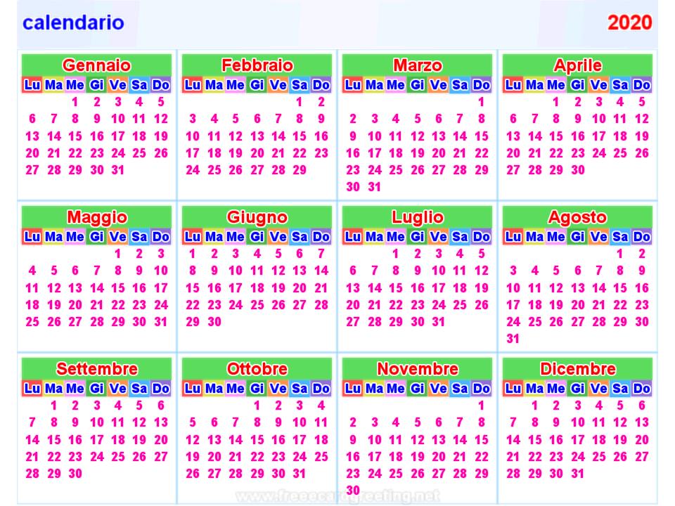 Dicembre Calendario 2020.Calendario 2020 Orizzontale E Verticale