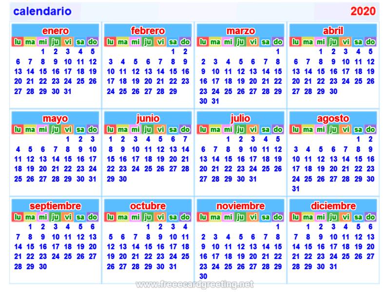Calendario 2020 Com Feriados.Calendario2020 Spanish