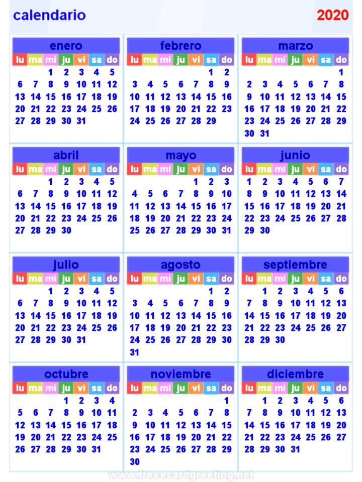 calendario 2020 Horizontal y Vertical