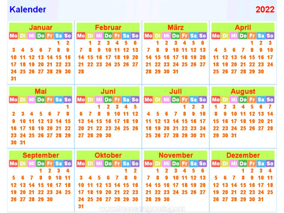 Kalender2022 horizontal und Vertikal