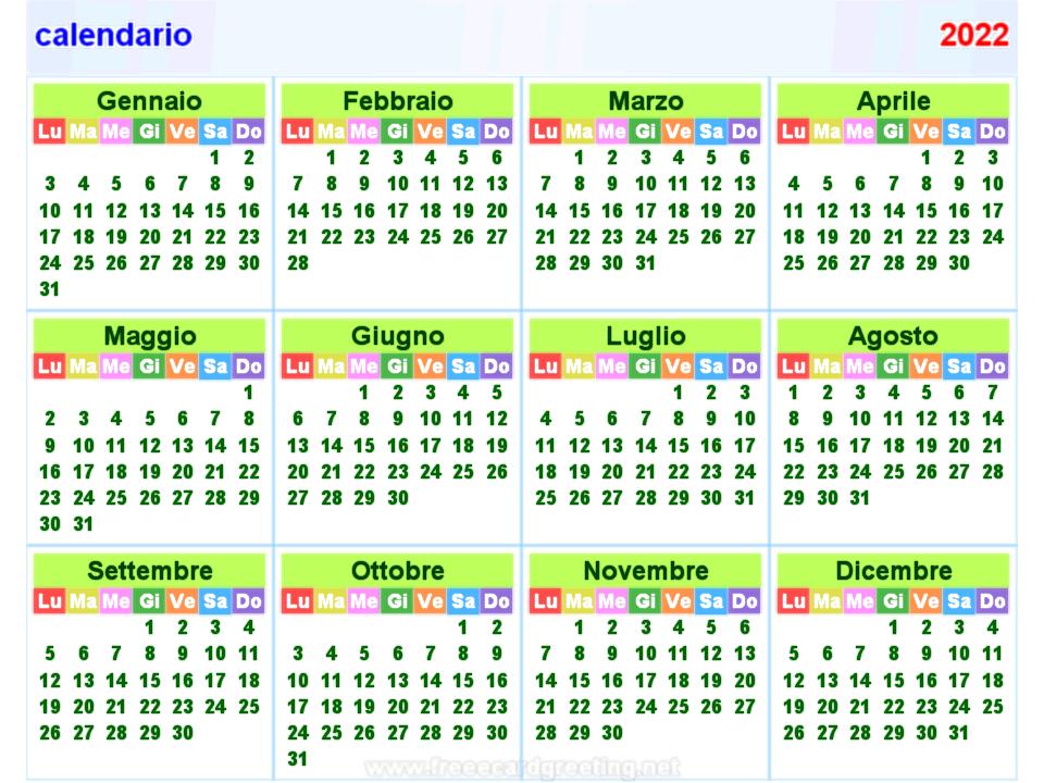 calendario 2022 orizzontale e verticale