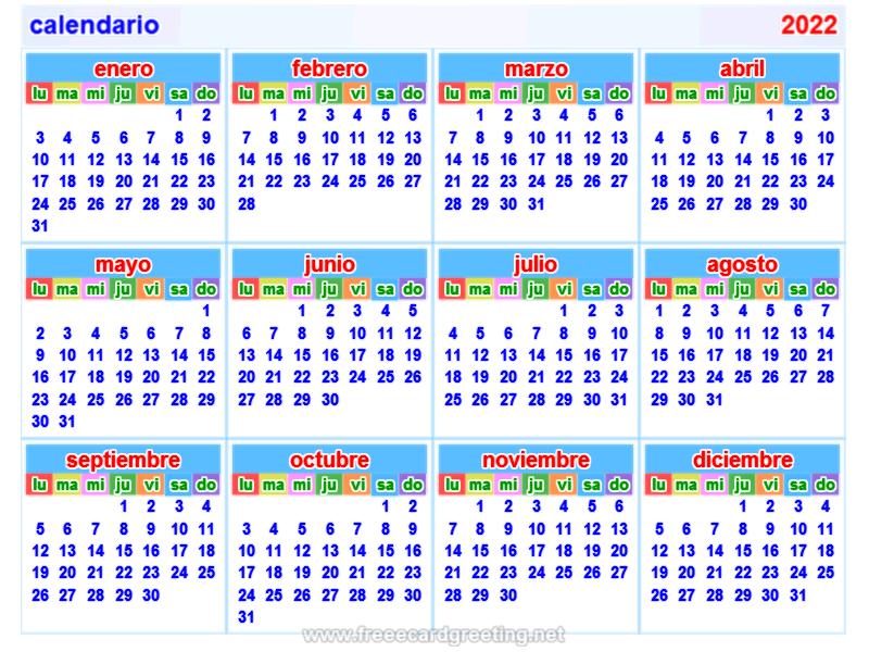 Spanish Calendar 2022.Calendario2022