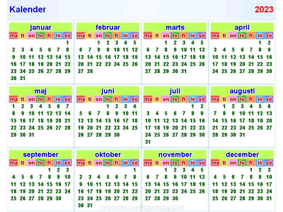 Kalender 2023 horizontaal en verticaal