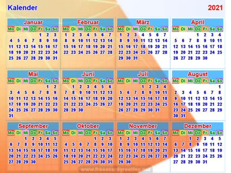 Kalender 2021 - Kalender Plan